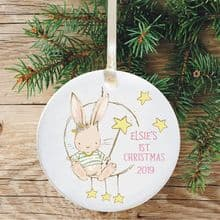 Baby's 1st Christmas Ceramic Christmas Tree Decoration  - Bunny Star Design