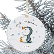 Baby's 1st Christmas Ceramic Christmas Tree Decoration  - Cute Penguin Design