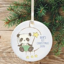 Baby's 1st Christmas Ceramic Christmas Tree Decoration  - Panda Star Design