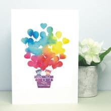 Balloon Cats Personalised Card - Ideal for Mother's Day or Father's Day