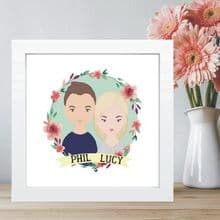 Cartoon Couple Portrait in Box Frame- Ideal Wedding Gift - Great Housewarming Present