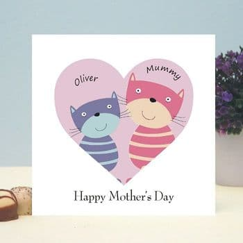 Cats in a Heart Personalised Card - Ideal for Mother's Day or Father's Day