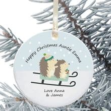 Ceramic Aunty/Uncle Keepsake Christmas Decoration - Hedgehog Design