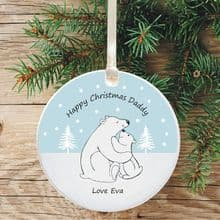 Ceramic Daddy Keepsake Christmas Decoration - Polar Bear Design