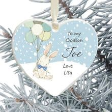 Ceramic Goddaughter/Godson Keepsake Heart Christmas Tree Decoration - Cute Bunny and Balloons Design