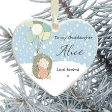 Ceramic Goddaughter Keepsake Heart Christmas Tree Decoration - Hedgehog and Balloons Design