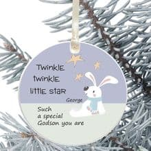 Ceramic Godson  Keepsake Christmas Decoration - Twinkle Star Design