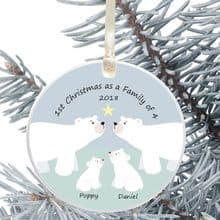 Ceramic Keepsake 1st Christmas as a Family of.... Tree Decoration - Polar Bear Family Design