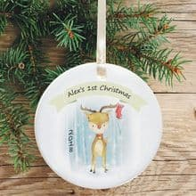 Ceramic Keepsake 1st Christmas Decoration - Reindeer Design