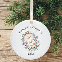Ceramic Keepsake Baby's 1st Christmas Tree Decoration - Hedgehog Design