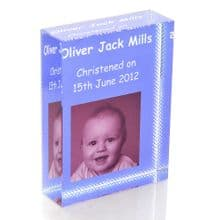 Christening or Naming Crystal With Photo - Unique Personalised Glass Gift