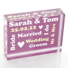 Commemorative Wedding Crystal - Personalised Wedding Or Anniversary Keepsake Gift