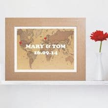 Couple Map Print - Personalised Wedding, Valentines or Anniversary Gift