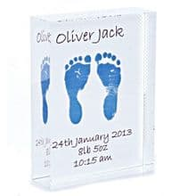 Crystal Block Displaying Miniaturised Baby Hand or Foot Prints - Baby Keepsake or Christening Gift
