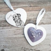 Dog or Cat Memorial Ashes Keepsake Ceramic & Resin Hanging Heart with Pet Illustration on Reverse