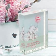Elephant and Balloon Crystal - Special Personalised New Baby Girl or Boy Keepsake Gift