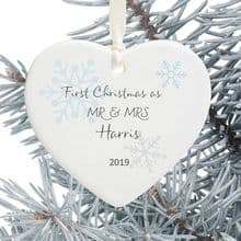First Christmas as Mr and Mrs Ceramic Heart Christmas Tree Decoration - Subtle Snowflakes Design