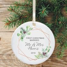 First Christmas as Mr and Mrs Keepsake Ceramic Christmas Tree Decoration - Geometric Holly Design
