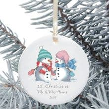 First Christmas as Mr and Mrs Keepsake Ceramic Christmas Tree Decoration - Snowman Couple Design