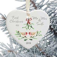 First Christmas as Mr and Mrs Keepsake Ceramic Heart Tree Decoration - Robins and Mistletoe Design