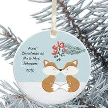 First Christmas as Mr & Mrs Keepsake Decoration - Foxes Design
