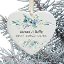 First Christmas Engaged Heart Christmas Tree Decoration - Blue Floral Design