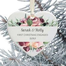 First Christmas Engaged Heart Christmas Tree Decoration - Pink Rose Floral Design