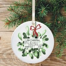 First Christmas in Our New Home Keepsake Ceramic Xmas Tree Decoration - Mistletoe and Bow Design