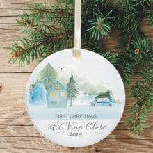 First Christmas in Our New Home Keepsake Ceramic Xmas Tree Decoration - Mountainside Home Design