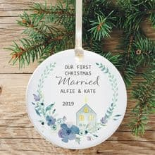 First Christmas Married Ceramic Keepsake Decoration - Church and Horseshoe Bouquet Design