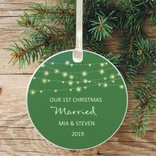 First Christmas Married Ceramic Keepsake Decoration - Lights Green Design