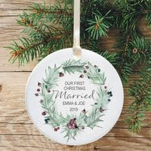 First Christmas Married Ceramic Keepsake Decoration - Purple Berries Wreath Design