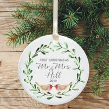 First Christmas Married Ceramic Keepsake Decoration - Robins and Mistletoe Design