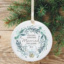 First Christmas Married Ceramic Keepsake Decoration - VW Beetle Wreath Design