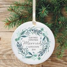 First Christmas Married Keepsake Ceramic Christmas Tree Decoration - Circular Festive Wreath Design