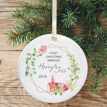 First Christmas Married Keepsake Ceramic Christmas Tree Decoration - Geometric Floral Church Design