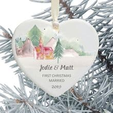 First Christmas Married Keepsake Ceramic Heart Tree Decoration - Mountainside Church Design