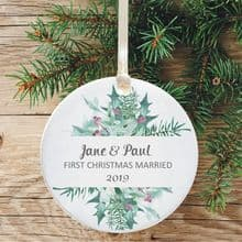 First Christmas Married Keepsake Decoration - Festive Wreath Design