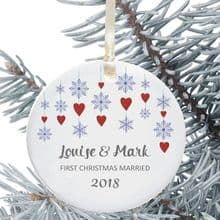 First Christmas Married Keepsake Decoration - Snowflake Hearts Design