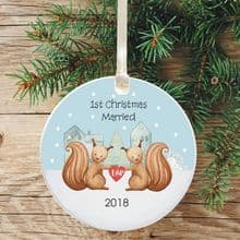 First Christmas Married Keepsake Decoration - Squirrel Design