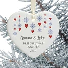 First Christmas Together Heart Christmas Tree Decoration - Snowflake Hearts Design