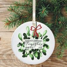 First Christmas Together Keepsake Ceramic Xmas Tree Decoration - Mistletoe and Bow Design