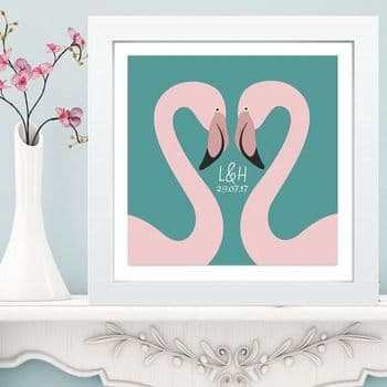 Flamingos in Box Frame - Unique Wedding or Anniversary Gift