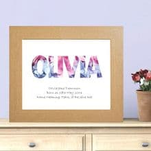 Flowers Name Print - Personalised Baby Girl or Christening Gift
