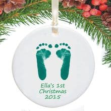 Footprints First Christmas Tree Decorations - Baby's 1st Christmas Keepsake