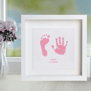 Framed Baby Hand and Foot Print Square Ceramic Tile - Baby Keepsake or Christening Gift