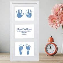 Framed Double Hands and Feet Prints Artwork - Ideal Baby Keepsake, Christening Gift or Present for New Parents