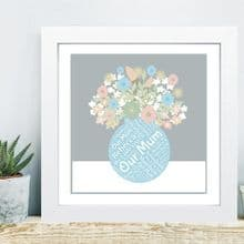 Framed Flowers Mum Word Cloud  - Ideal Gift From Kids - Unique Mother's Day Gift