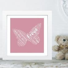 Framed Goddaughter Butterfly Word Cloud Christening Gift - Ideal Gift from a Godparent