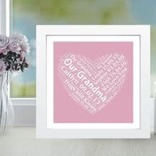 Framed Grandma Heart Word Cloud - Ideal Personalised Gift For Grandmother From The Grandchildren